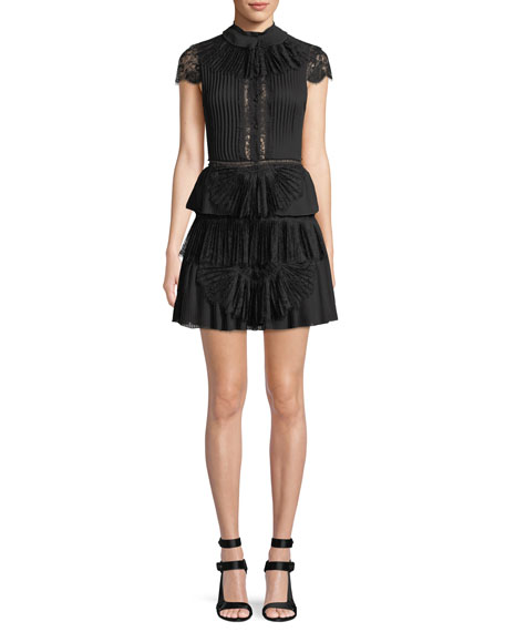 Alice + Olivia Rosetta High-Neck Cap-Sleeve Tiered Lace