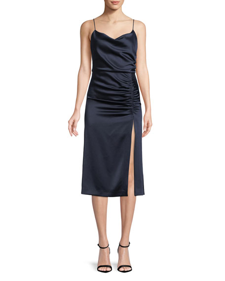 Alice + Olivia Dion Ruched Midi Slip Dress