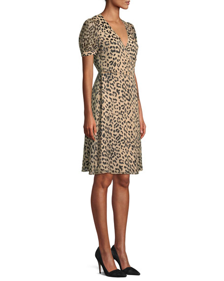 Rosette Leopard-Print Wrap Dress