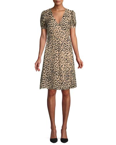 Rosette Leopard-Print Wrap Dress