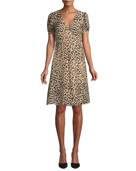 Alice + Olivia Rosette Leopard-Print Wrap Dress