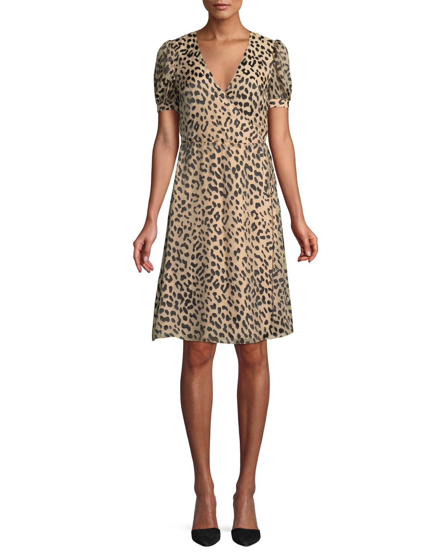 96066fb6ac Alice + Olivia Rosette Leopard-Print Wrap Dress