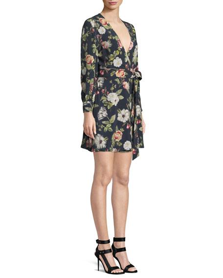 Hannah Long-Sleeve Floral Wrap Dress