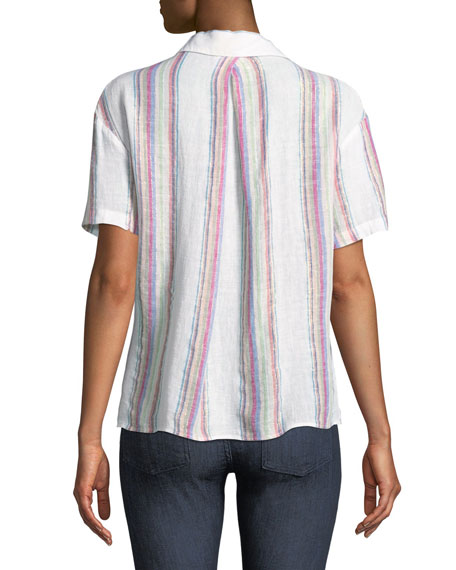 Zuma Striped Linen-Blend Button-Down Top