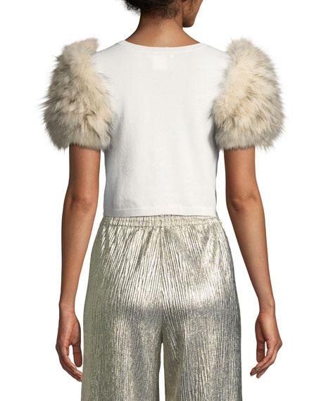 Ciara Fur-Sleeve Cropped Sweater