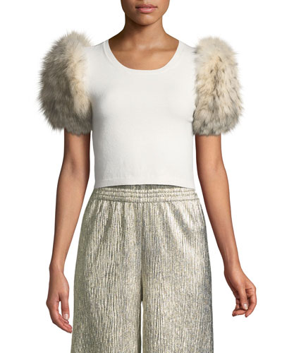 Ciara Fur-Sleeve Cropped Sweater
