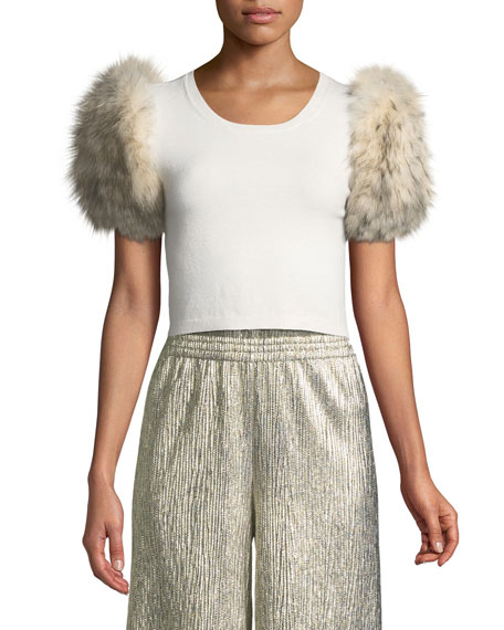 Alice + Olivia Ciara Fur-Sleeve Cropped Sweater