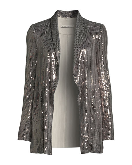 Jace Sequined Open-Front Tux Blazer