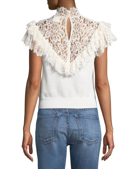 Beth Lace-Yoke Ruffle Top