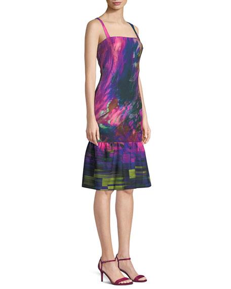 Nala Watercolor-Print Dress w/ Ruffle Hem