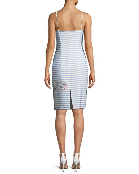 Shalana Striped Sheath Dress w/ Floral Accents