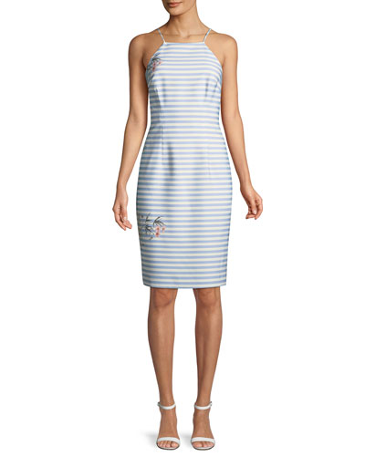 Shalana Striped Sheath Dress w/ Floral Accents