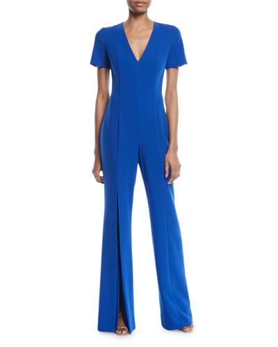 Spencer Short-Sleeve Jumpsuit w/ Slit