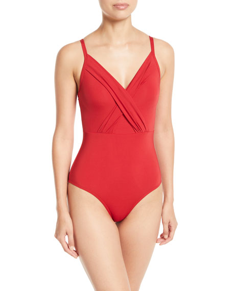 Jetset Cross-Front One-Piece Swimsuit (Dd/E Cup) in Red