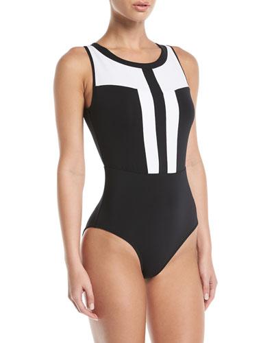 Classique High-Neck Colorblock Cutout-Back One-Piece Swimsuit