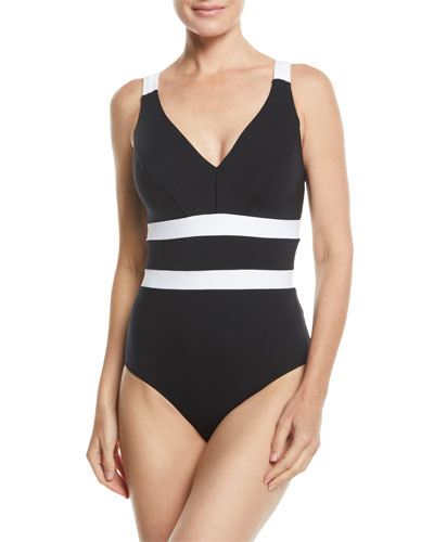 Classique V-Neck Underwire One-Piece Swimsuit (Available in Extended Cup Size)
