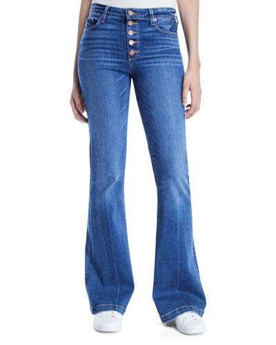 Genevieve Flare-Leg Jeans with Button Fly