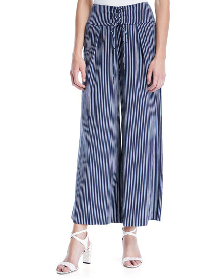 PAIGE Charisma Striped Wide-Leg Pants