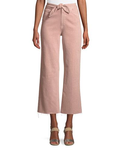 Nellie Tie-Front Denim Culotte Pants
