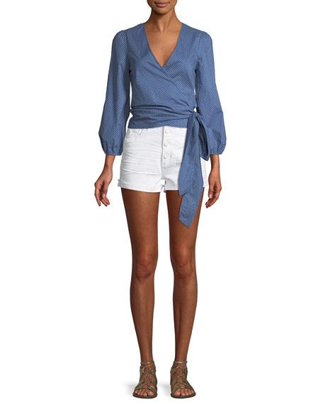 Sarah Button-Fly Denim Cutoff Shorts
