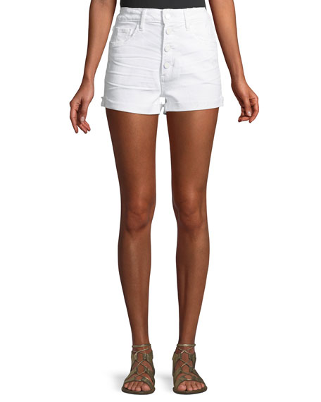 PAIGE Sarah Button-Fly Denim Cutoff Shorts