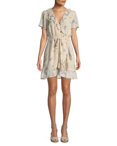 Cardamom Floral Silk Wrap Dress