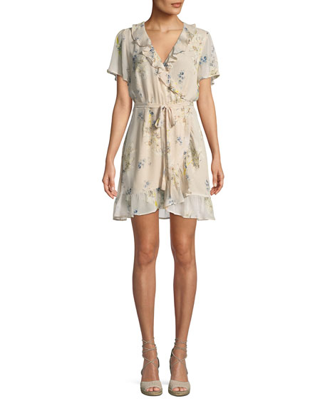 PAIGE Cardamom Floral Silk Wrap Dress