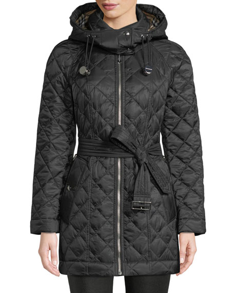 Baughton Belted Quilted Parka Jacket, Black