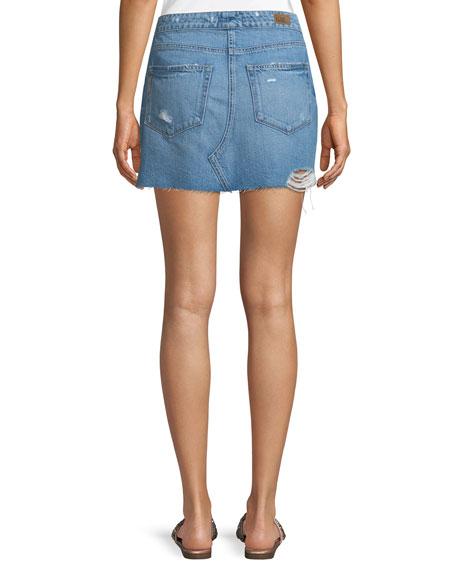 Aideen Tie-Front Distressed Denim Skirt