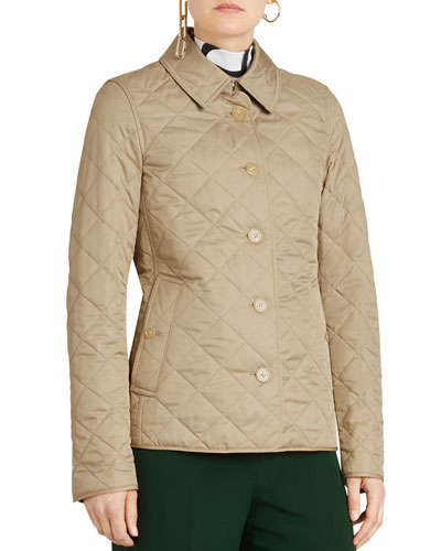 Diamond Quilted Button-Front Jacket