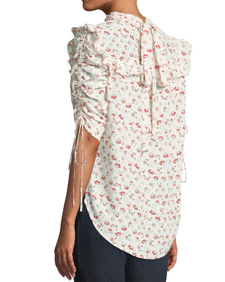 Howell Floral-Print Silk Ruffle Top