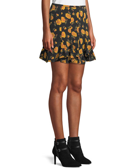 Weller Floral-Print Flounce Mini Skirt