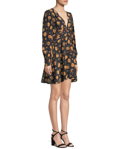 Marion Long-Sleeve Floral Mini Dress