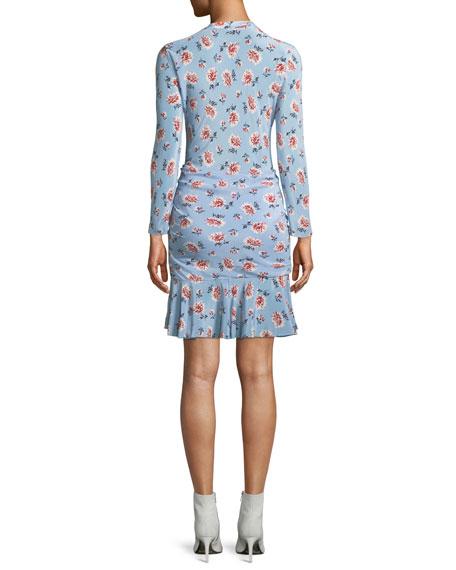 Rowe Bracelet-Sleeve Ruched Asymmetric-Placket Floral-Print Silk Dress