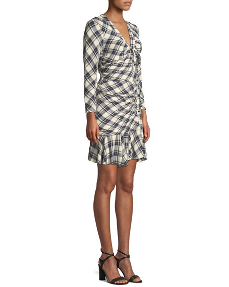 Rowe Button-Front Ruched Check Mini Dress