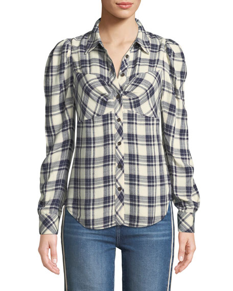 Candice Plaid Fitted Blouse