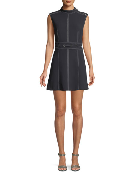 Nico Mock-Neck Grommet-Waist Dress
