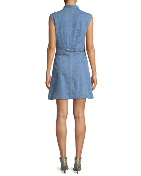 Nico Mock-Neck Grommet-Waist Chambray Dress