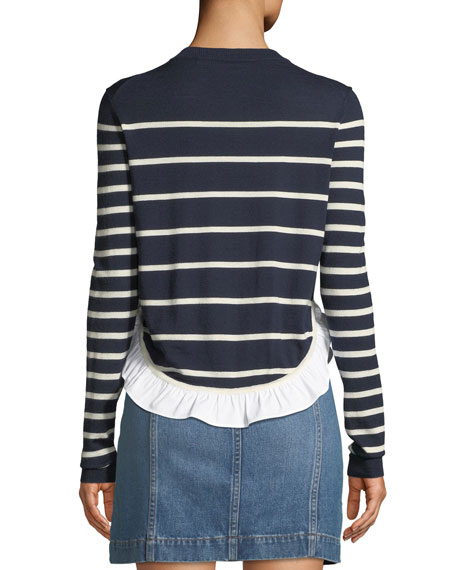 Ollie Striped Wool Flounce Sweater