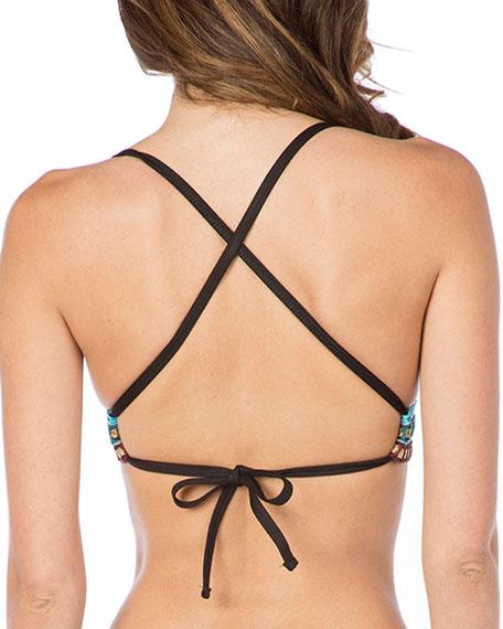 Strappy Stitched Triangle Bikini Top
