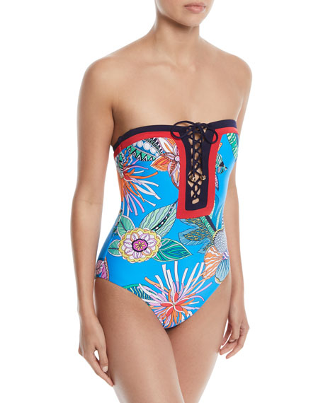 Tahiti Lace-Up One-Piece Swimsuit