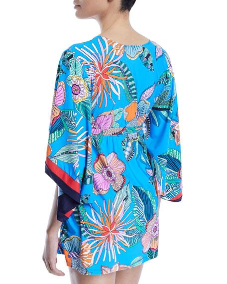 Tahiti Floral Cape-Sleeve Coverup Tunic
