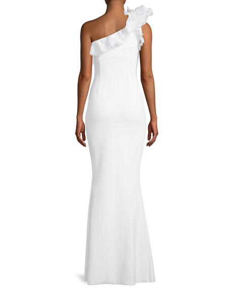 Elisir One-Shoulder Gown w/ Organza Ruffle