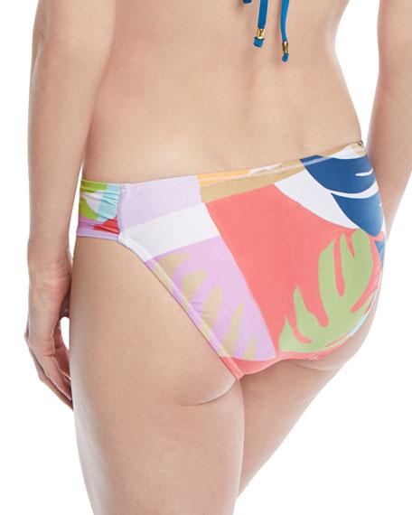Banana Leaf Shirred Hipster Swim Bottoms