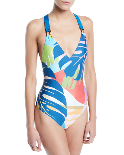 Banana Leaf Printed One-Piece Swimsuit