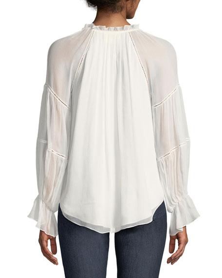 Romy Silk Bell-Sleeve Blouse