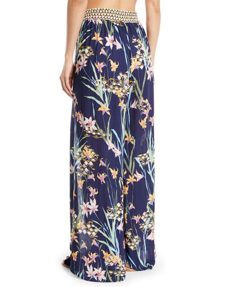 Fiji Floral Split-Leg Beach Pants