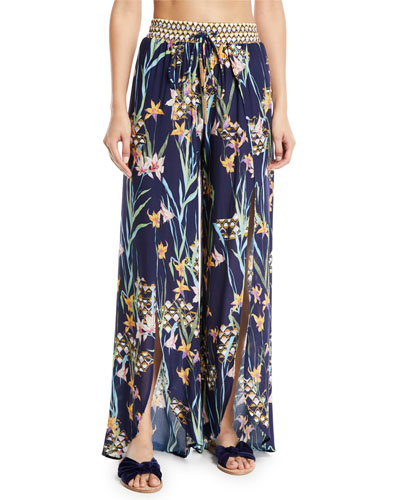 Fiji Floral Split-Leg Beach Pants