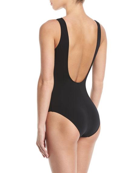 Classique Wrap Colorblock One-Piece Swimsuit