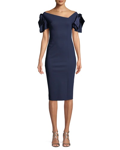 Dvora Satin Bow-Shoulder Cocktail Dress